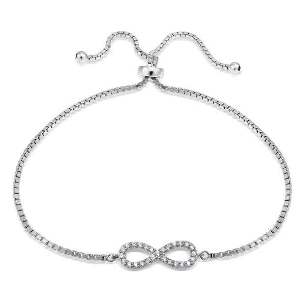 Sterling  Silver Cubic Zirconia Infinity Adjustable Bracelet