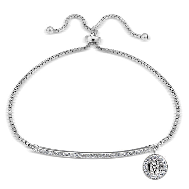 Sterling Silver  Cubic Zirconia 'Love' Charm Bar Adjustable Bracelet