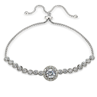 Sterling Silver Cubic Zirconia Halo Adjustable Bracelet