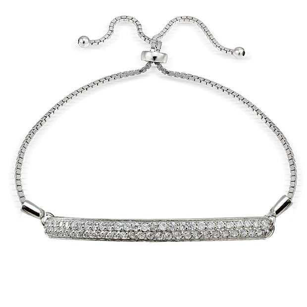 Sterling Silver Cubic Zirconia 2-Row Bar Adjustable Bracelet