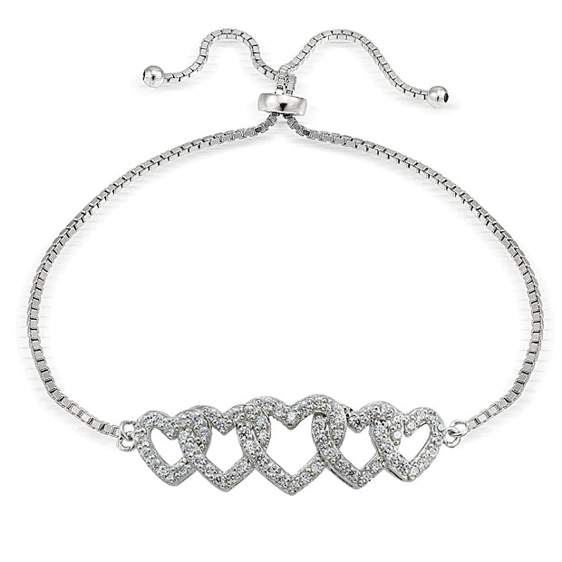 Sterling Silver Cubic Zirconia Intertwining Hearts Adjustable Bracelet