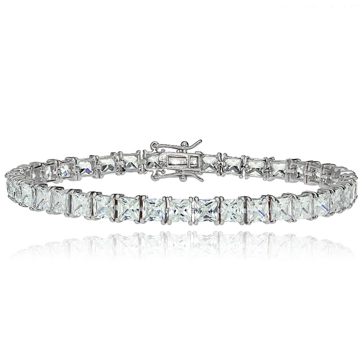 Sterling Silver Princess-cut Cubic  Zirconia 4x4mm Tennis Bracelet