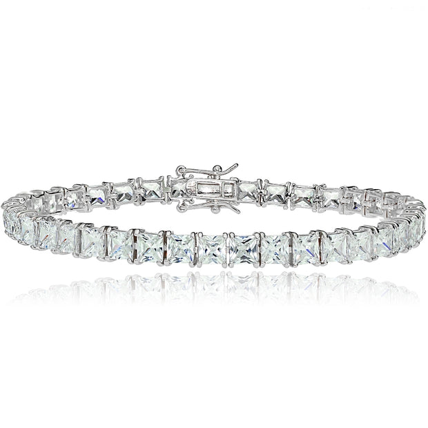 Sterling Silver Princess-cut Cubic  Zirconia 5x5mm Tennis Bracelet