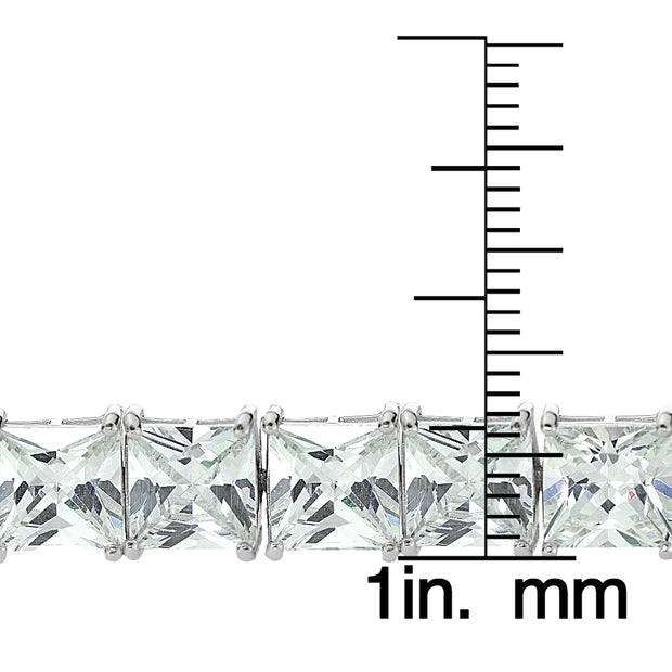 Sterling Silver Princess-cut Cubic  Zirconia 7x7mm Tennis Bracelet