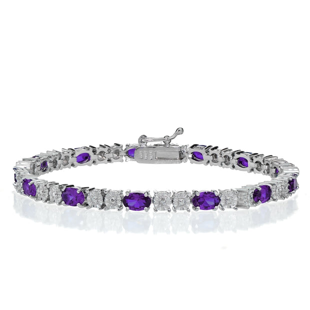 Sterling Silver 4.5ct African Amethyst and Diamond Accent Oval Tennis Bracelet