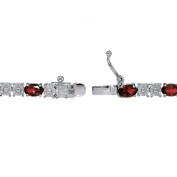 Sterling Silver 6.5ct African Garnet and Diamond Accent Oval Tennis Bracelet