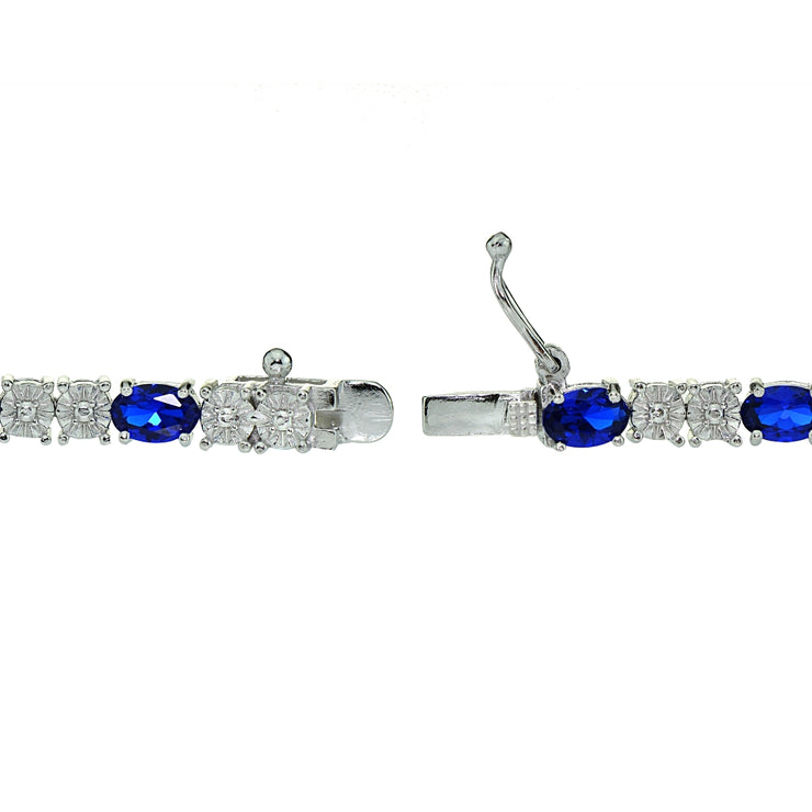 Sterling Silver 4.7ct Created Sapphire and Diamond Accent Oval Tennis Bracelet