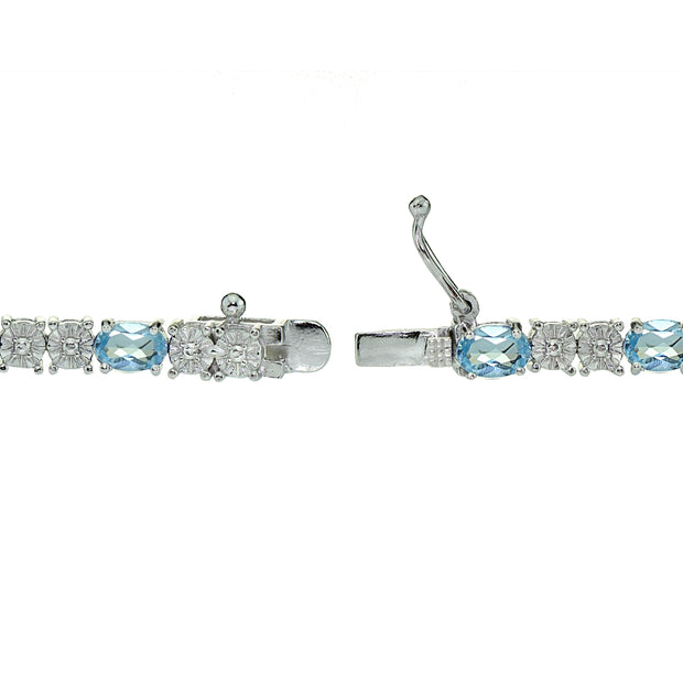 Sterling Silver 6.5ct Blue Topaz and Diamond Accent Oval Tennis Bracelet