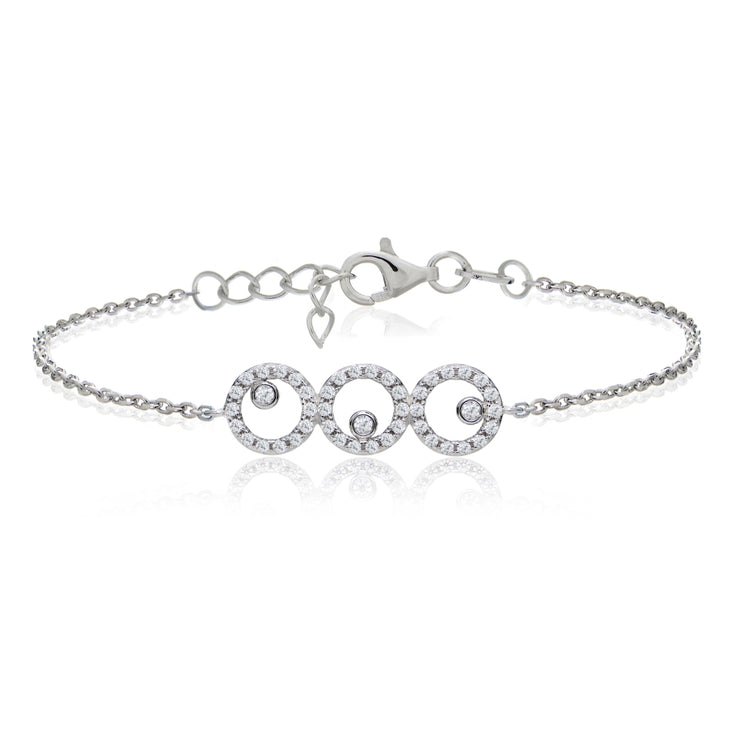 Sterling Silver Cubic  Zirconia Triple Circle Dainty Chain Bracelet