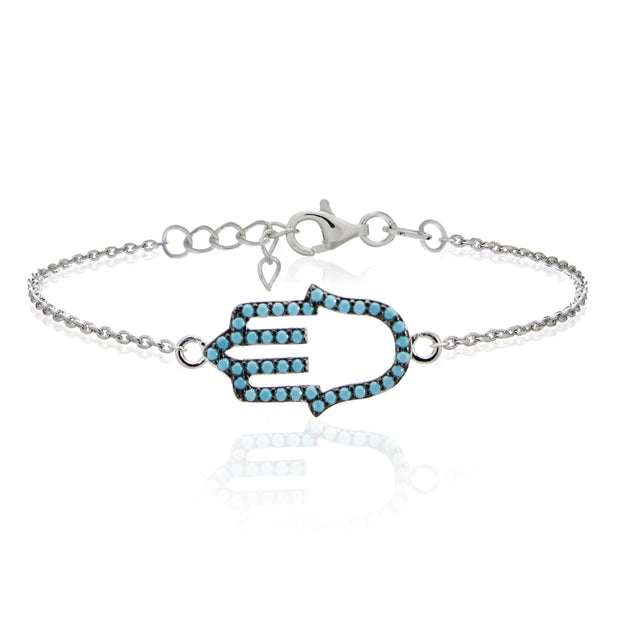 Sterling Silver Nano Created Turquoise Hamsa Hand Chain Bracelet