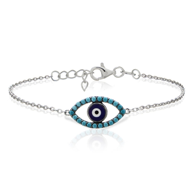 Sterling Silver Nano Created Turquoise Evil Eye Chain Bracelet