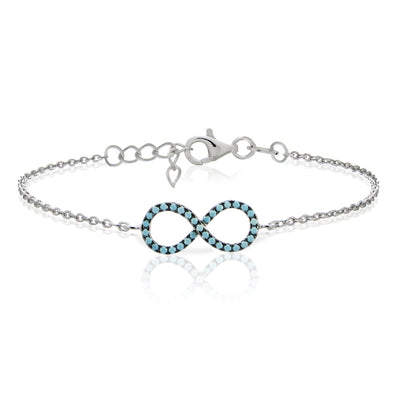 Sterling Silver Nano Simulated Turquoise Infinity Chain Bracelet