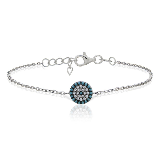 Sterling Silver Nano Created Turquoise and Cubic Zirconia Round Evil Eye Bracelet