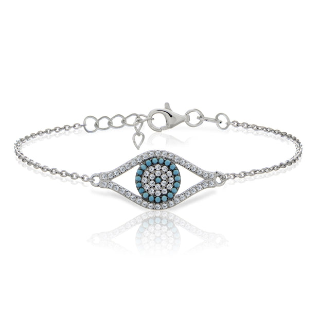 Sterling Silver Nano Created Turquoise and Cubic Zirconia Evil Eye Bracelet
