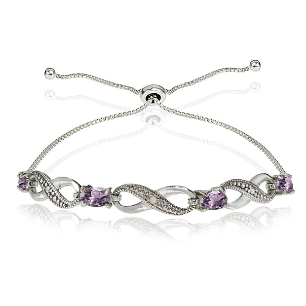 Sterling Silver Created Alexandrite Figure 8 Infinity Adjustable Bolo Bracelet