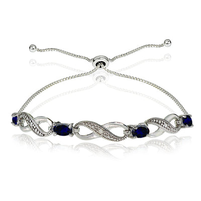 Sterling Silver Created Blue Sapphire Figure 8 Infinity Adjustable Bolo Bracelet