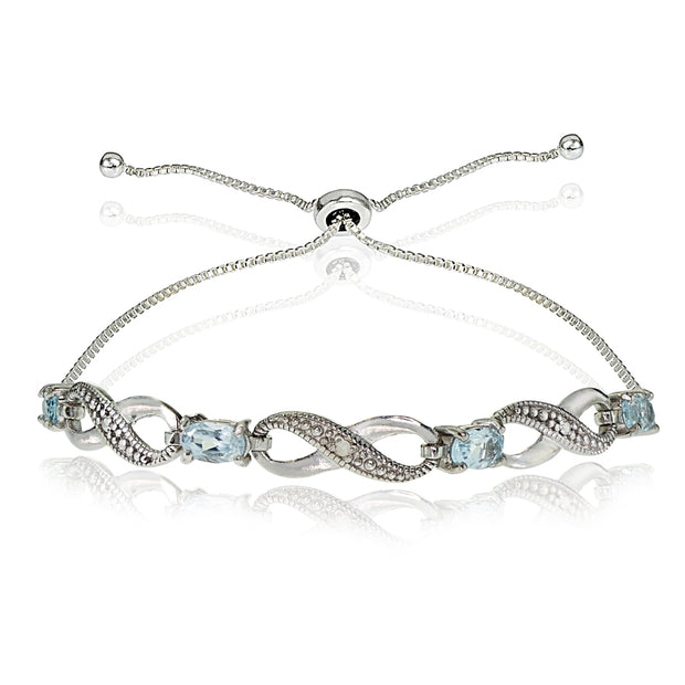 Sterling Silver Blue Topaz Figure 8 Infinity Adjustable Bolo Bracelet