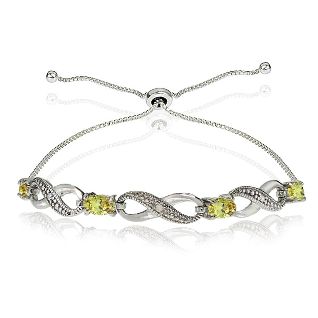 Sterling Silver Citrine Figure 8 Infinity Adjustable Bolo Bracelet