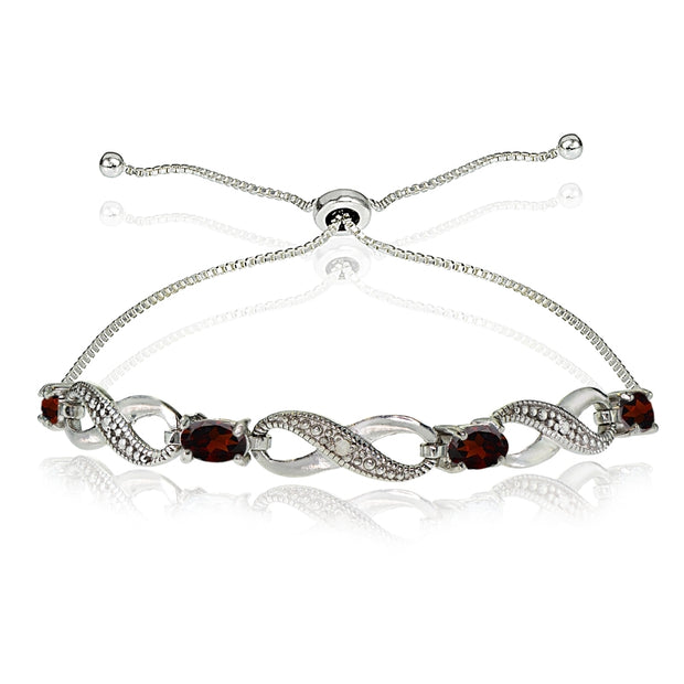 Sterling Silver Garnet Figure 8 Infinity Adjustable Bolo Bracelet