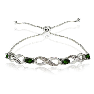 Sterling Silver Simulated Emerald Figure 8 Infinity Adjustable Bolo Bracelet