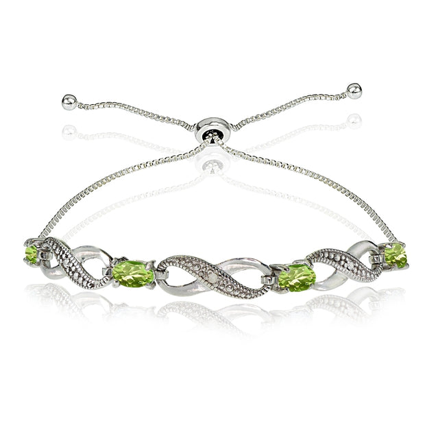 Sterling Silver Peridot Figure 8 Infinity Adjustable Bolo Bracelet