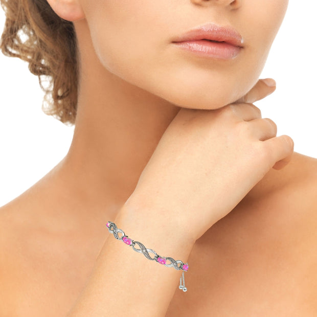 Sterling Silver Created Pink Opal Figure 8 Infinity Adjustable Bolo Bracelet