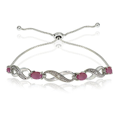 Sterling Silver Ruby and Diamond Accent Infinity Adjustable Bracelet