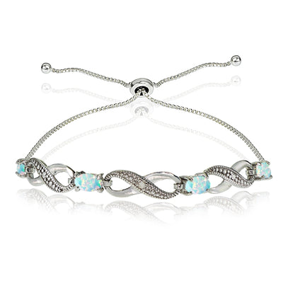 Sterling Silver Created White Opal Figure 8 Infinity Adjustable Bolo Bracelet