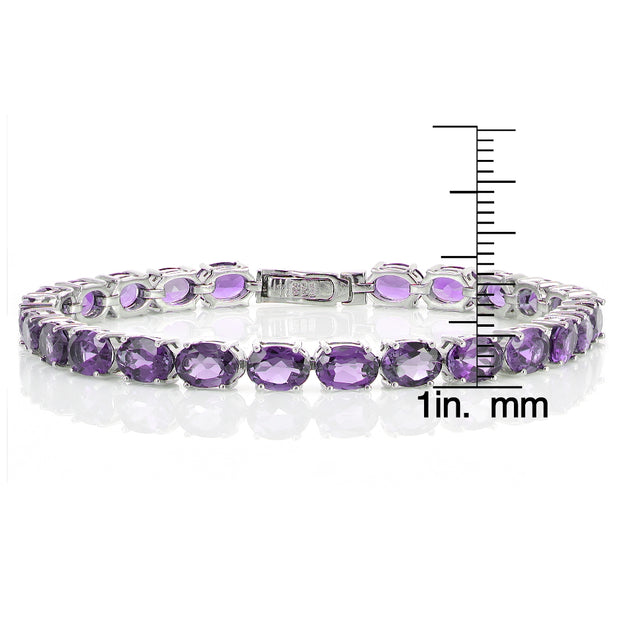 Sterling Silver 15ct Amethyst 7x5mm Oval Tennis Bracelet