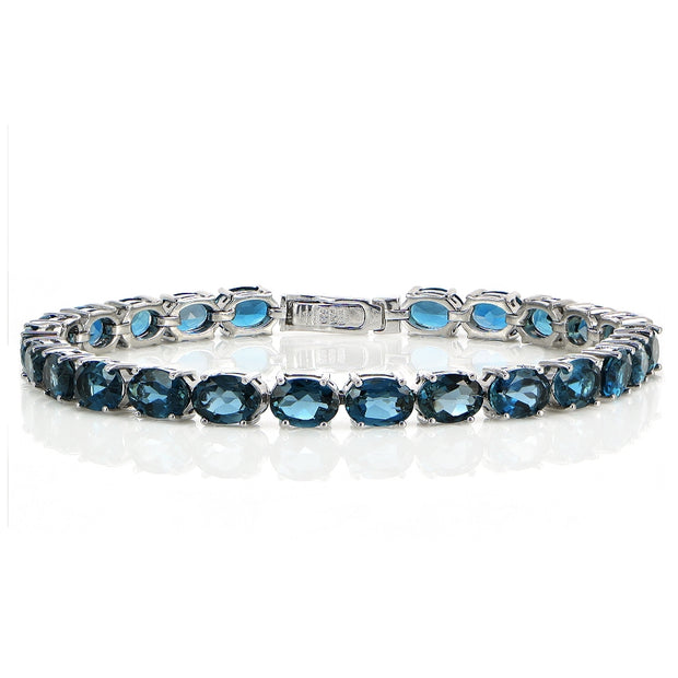 Sterling Silver 20ct London Blue Topaz 7x5mm Oval Tennis Bracelet