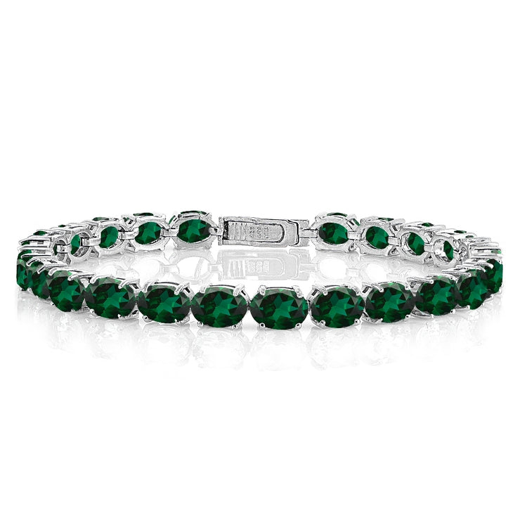 Sterling Silver 12.35ct Created Emerald 7x5mm Oval Tennis Bracelet