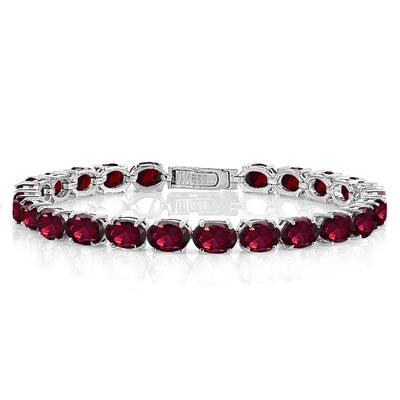 Sterling Silver 22ct Created Ruby 7x5mm Oval Tennis Bracelet