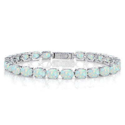 Sterling Silver 7.4ct Created White Opal 7x5mm Oval Tennis Bracelet