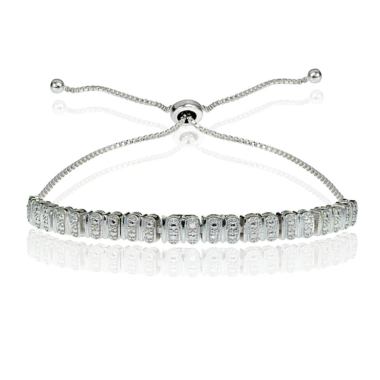 Sterling Silver Diamond Accent Studded Tennis Adjustable Bolo Bracelet