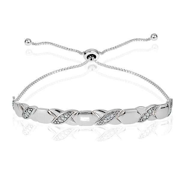 Sterling Silver Diamond Accented XO Adjustable Bolo Bracelet