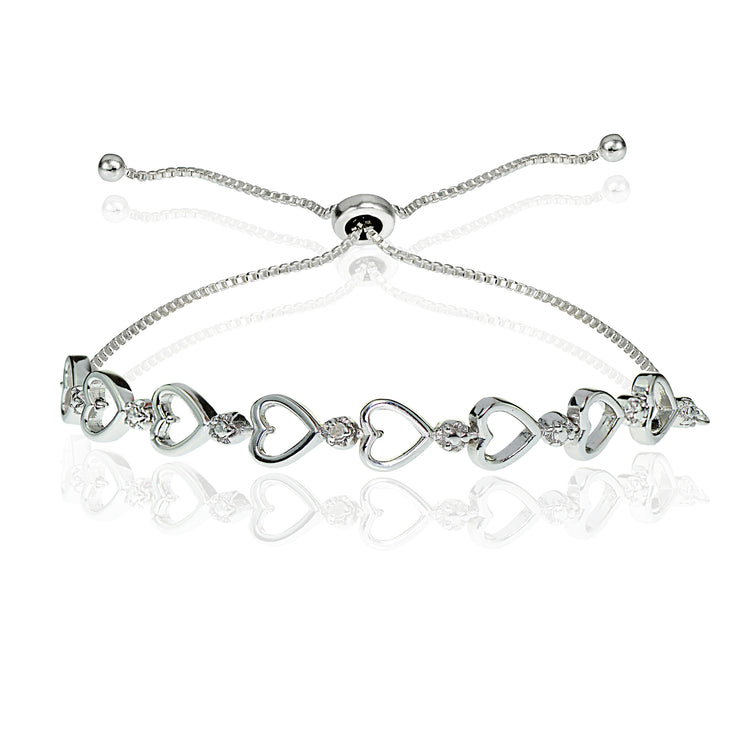 Sterling Silver Diamond Accented Open Heart Link Adjustable Bolo Bracelet