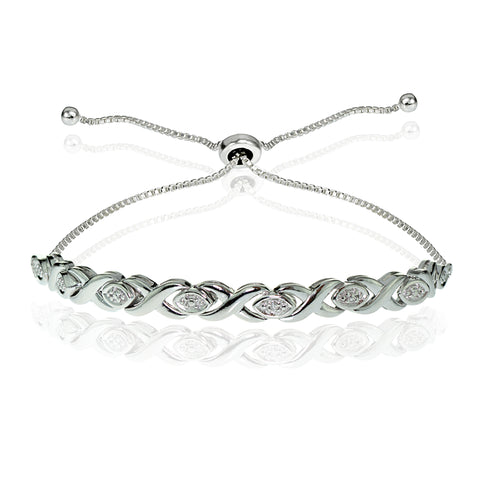 Sterling Silver Diamond Accented X Tennis Adjustable Bolo Bracelet