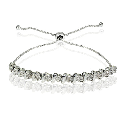 1/10 ct Miracle Set Diamond S Link Adjustable Bracelet in Sterling Silver