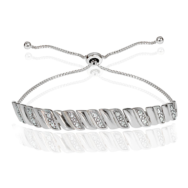 Sterling Silver Diamond Accented San Marco Adjustable Bolo Bracelet