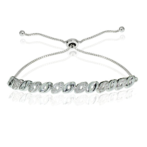 Sterling Silver Diamond Accented Oval Adjustable Bolo Bracelet