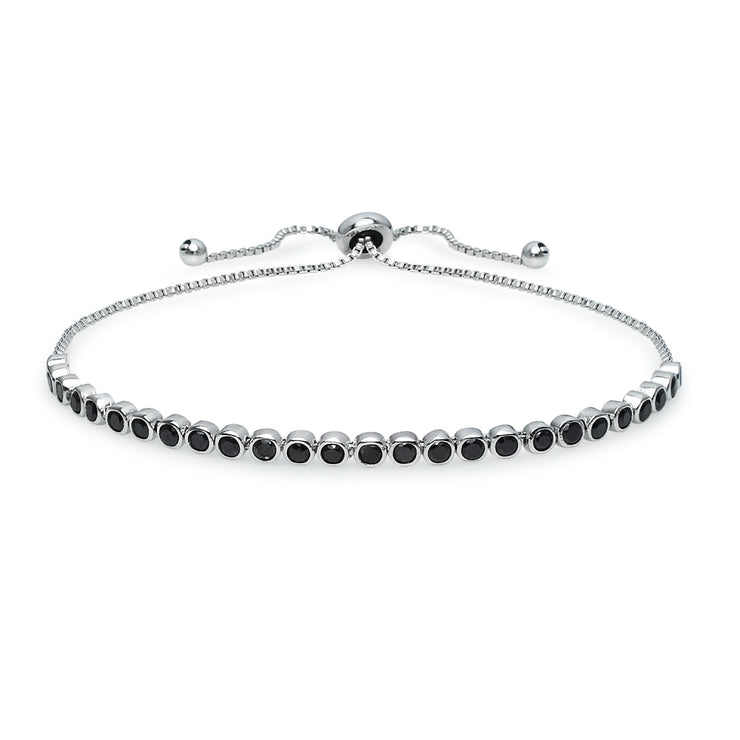 Sterling Silver Black Cubic Zirconia Round Bezel-Set Adjustable Bolo Bracelet