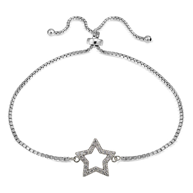 Sterling Silver Cubic Zirconia Star Adjustable Bracelet