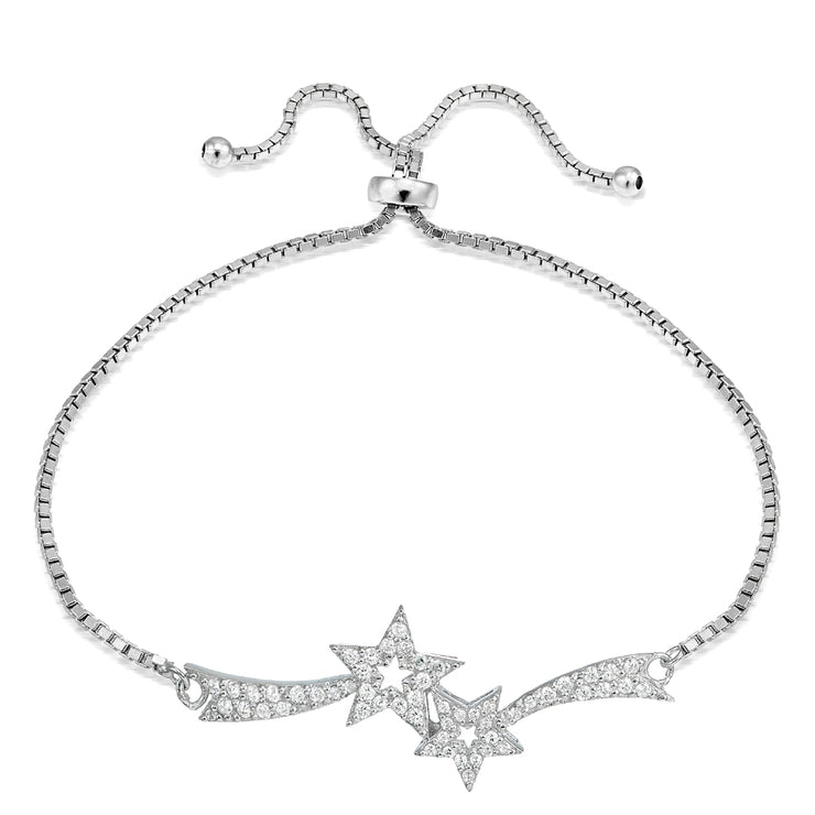 Sterling Silver Cubic Zirconia Two Shooting Star Adjustable Bracelet