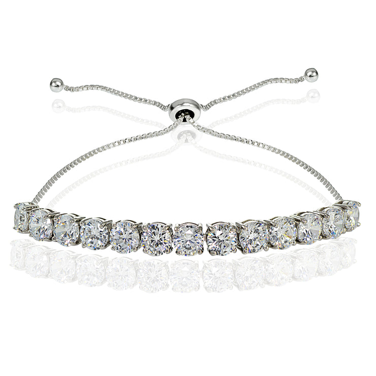 Sterling Silver Cubic Zirconia 5mm Round-cut Adjustable Bracelet