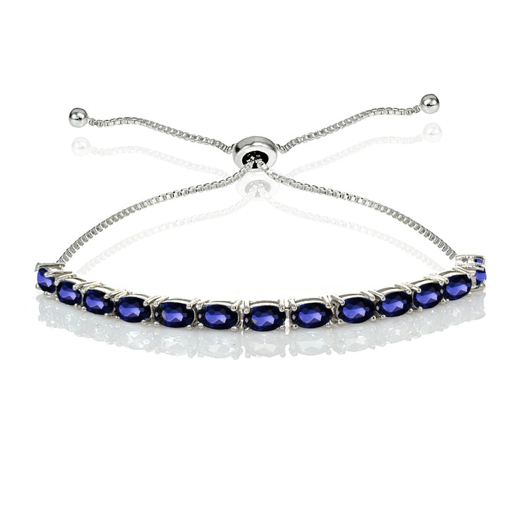 Sterling Silver 5x3mm Created Blue Sapphire Oval-Cut Adjustable Bracelet