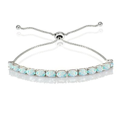 Sterling Silver 5x3mm Created White Opal Oval-Cut Adjustable Bracelet