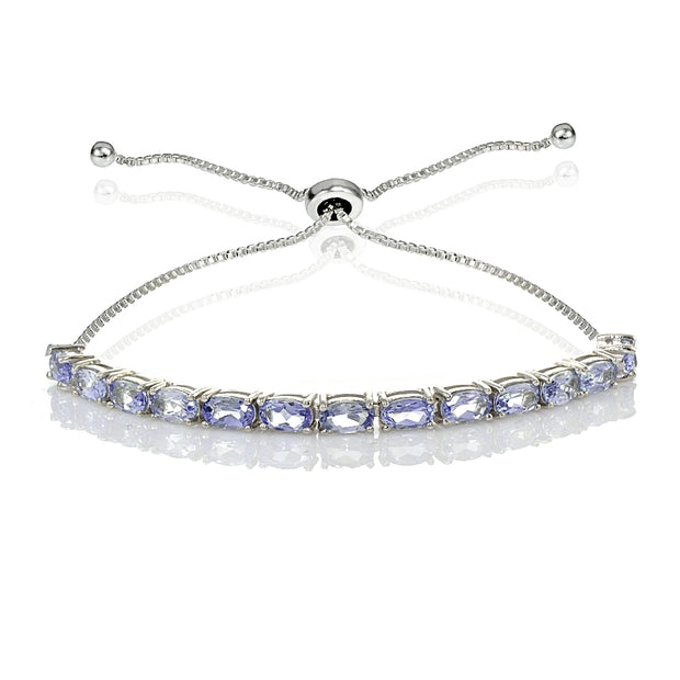 Sterling Silver 5x3mm Tanzanite Oval-Cut Adjustable Bracelet