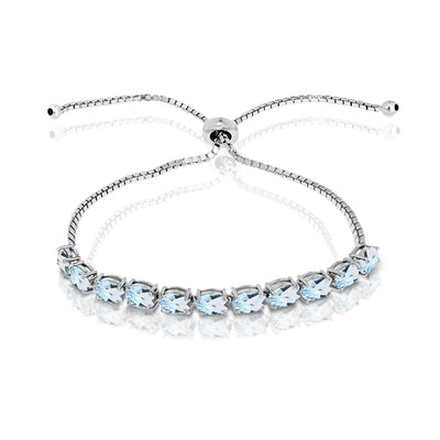 Sterling Silver Blue Topaz 6x4mm Oval-cut Adjustable Tennis Bracelet