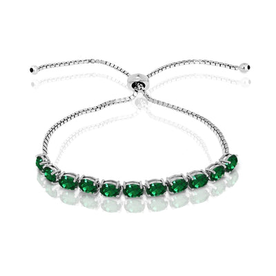 Sterling Silver Simulated Emerald 6x4mm Oval-cut Adjustable Tennis Bracelet