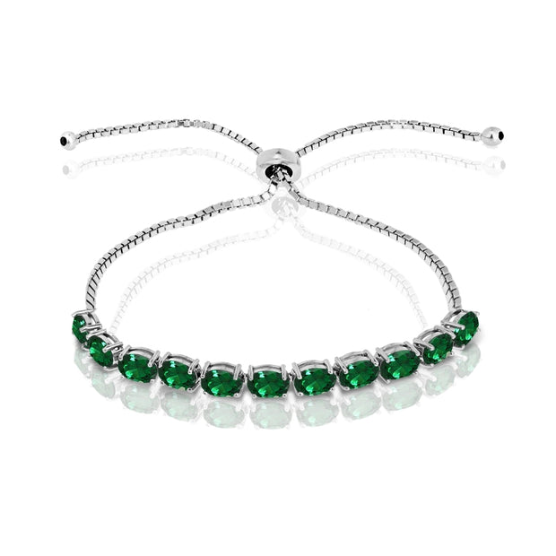 Sterling Silver Created Emerald 6x4mm Oval-cut Adjustable Tennis Bracelet
